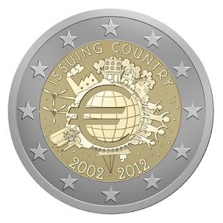 10 vuotta euro kolikoita ja seteleitä erikoislyönti