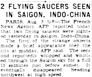 Flying Saucers Seen in Saigon - The Morning News (Wilmington, Delaware) 8-4-1948