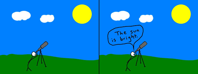 "stick figure looking through telescope on sunny day. Second panel: ""The sun is bright."""