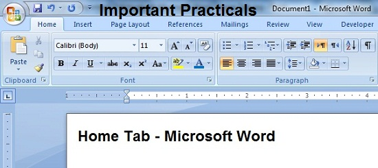 Important Practicals of Microsoft Word Part - I , Home Tab