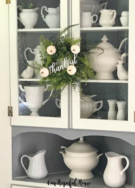 fern wreath corner cupboard ironstone collection