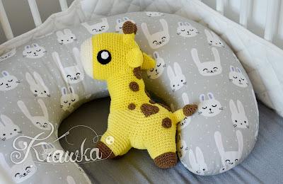 Krawka: Cute little chubby Giraffe - baby plush crochet pattern by Krawka, baby animal, wild animal giraffe