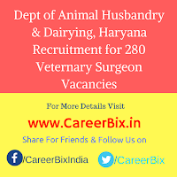 Dept of Animal Husbandry & Dairying, Haryana Recruitment for 280 Veternary Surgeon Vacancies