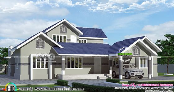 Blue roof grey color painted house side elevation