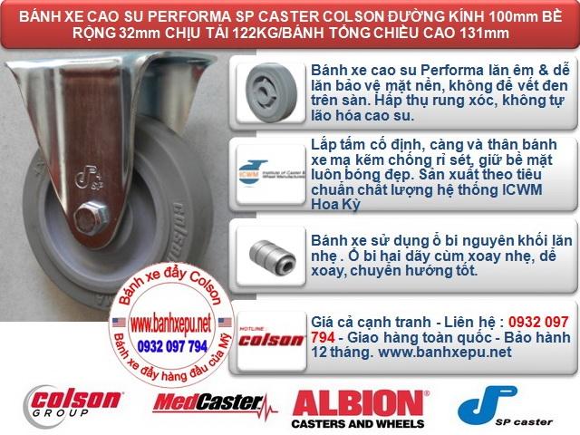 Bánh xe đẩy cao su càng cố định 4 inch chịu lực 122kg | S2-4258-TPE www.banhxeday.xyz