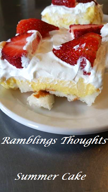 Ramblings Thoughts, Recipe, Cookbook Additions, Desserts, Summer, Treats, Strawberries, Angel Cake, Tasty Tuesday