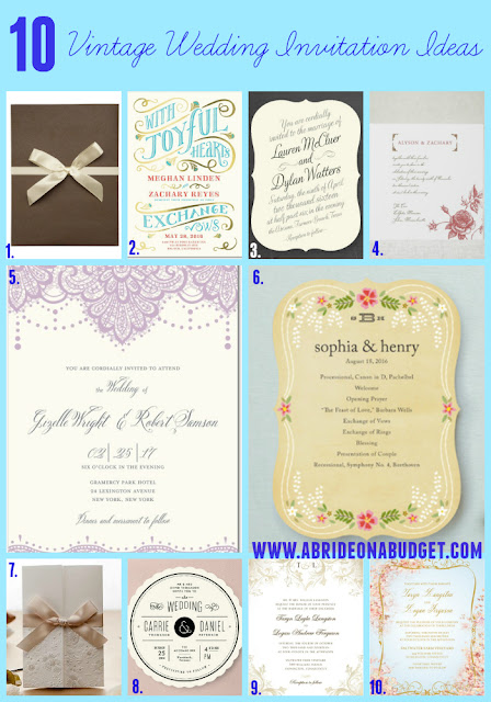 Planning a vintage wedding? Check out these Vintage Wedding Invitation Ideas from www.abrideonabudget.com.