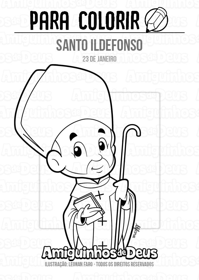 Santo Ildefonso desenho para colorir