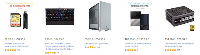 Top 15 Ofertas Destacadas de Amazon en productos Corsair, Crucial, WD y SanDisk
