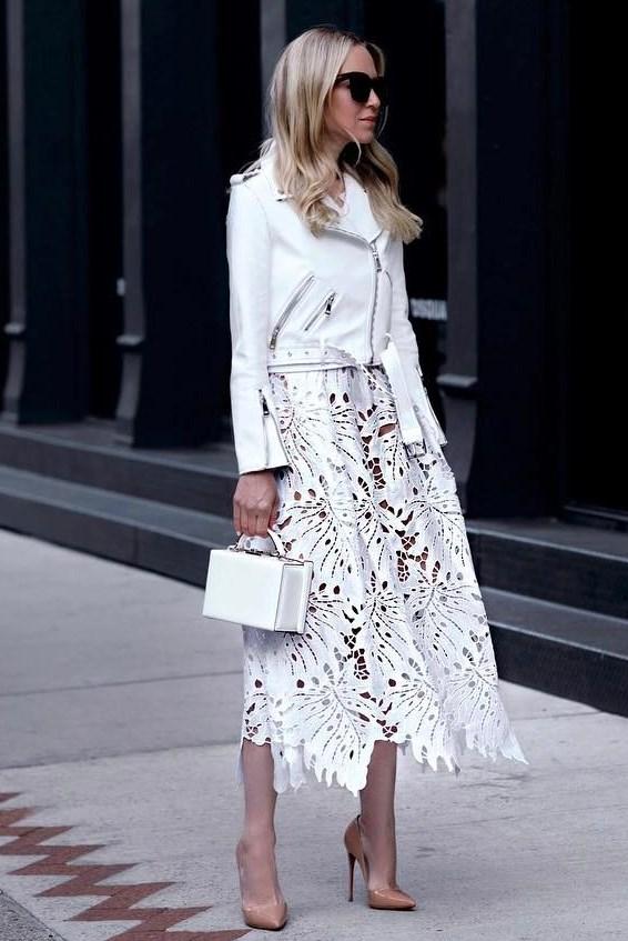 elegant outfit idea with a white biker jacket : bag + midi lace dress + heels