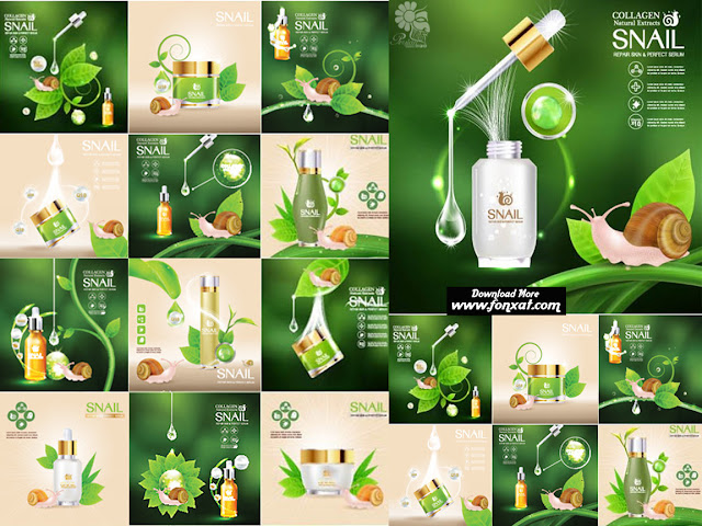 Cosmetics vector illustrations posters - Advertising Poster Concept Cosmetics Vector