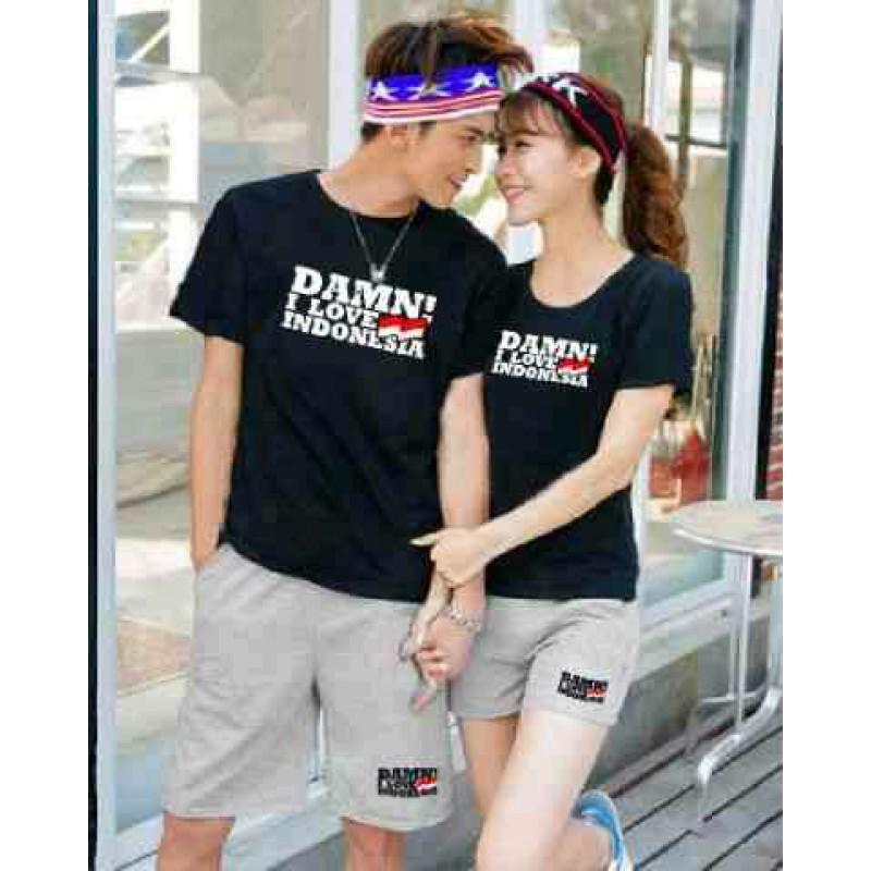 Jual Online CS Damn I Love Indonesia Black Misty Couple Murah Jakarta Bahan Combed Terbaru