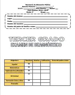 Exámenes Tercer grado Diagnostico Ciclo Escolar 2018-2019