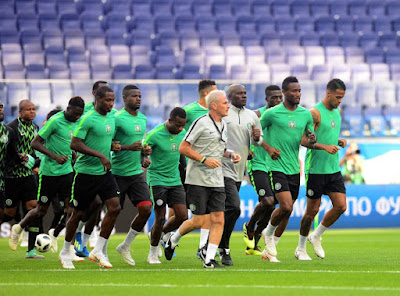 Super eagles of Nigeria on training