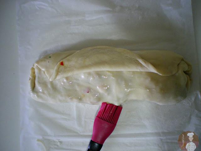 Calzone de salmon con verduras: Sellado