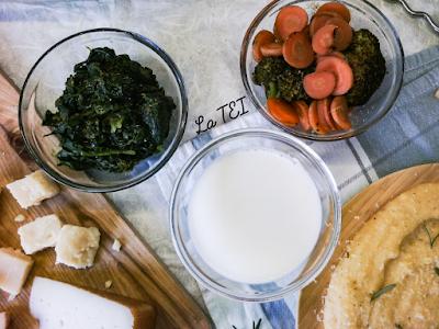 Spinaci , broccoli e carote saltate in padella, latte e formaggi di capra