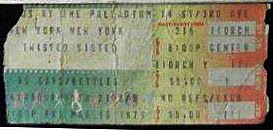Twisted Sister, as an unsigned band sell out the Palladium March 16, 1979... ticket stub. This show was cancelled and rescheduled for April 6, 1979 when Eddie got sick. The Bonnie Parker Band opened up for the boys!