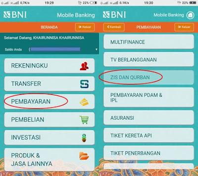 Cara Bayar Zakat dan Sedekah Lewat BNI Syariah Mobile Banking