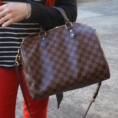 Louis Vuitton Damier Ebene 30 speedy bandouliere, red skinny jeans | Away From The Blue