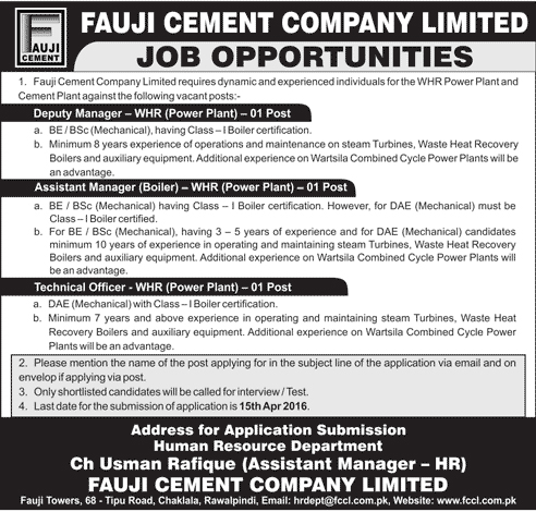Fauji Cement Company Limited Jobs in Rawalpindi