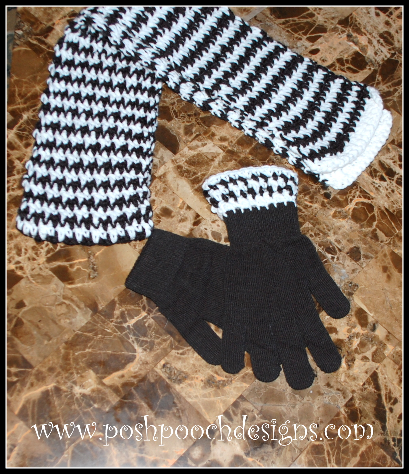 ... Designs Dog Clothes: Hounds Tooth Scarf and Glove Crochet Patterns