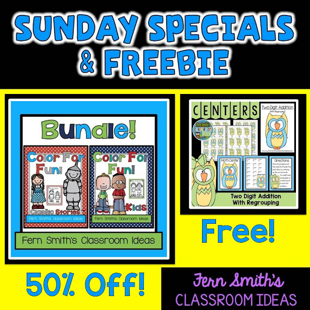 Fern Smith's Classroom Ideas Super Sunday Special and Freebie: Color For Fun Bundle and an Addition Center For You!