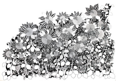 Dibujo con pluma negra sobre papel blanco altamente detallado