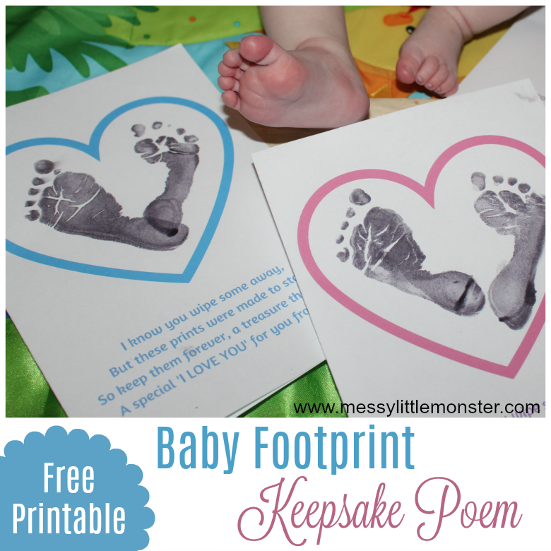 Baby footprint poem. A baby craft to treasure.
