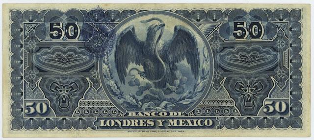 Billetes Mexicanos 50 Pesos Banco de Londres y Mexico
