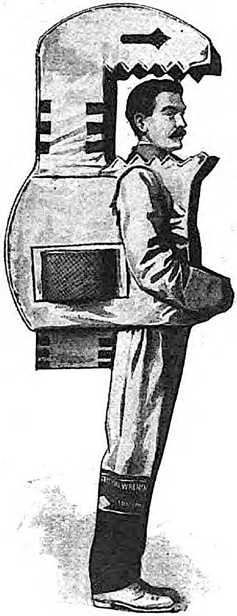 a 1910 promotion costume, man in a wrench costume
