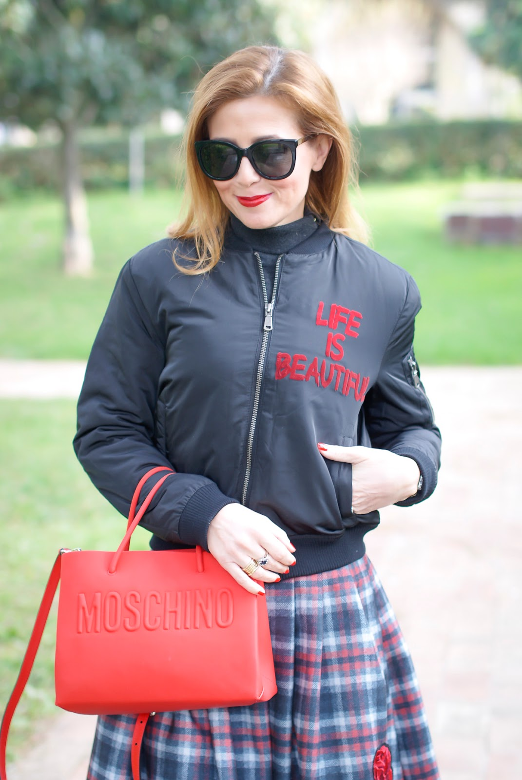 Life is beautiful bomber jacket on Fashion and Cookies fashion blog, fashion blogger style