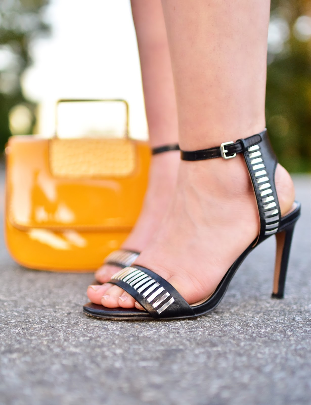 French Connection ankle-strap sandals, yellow patent mini-bag