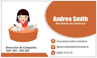 Tarjetas de presentación para secretarias