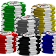 Poker Chip Stack Graphics - 24 Styles