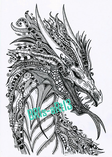 Coloring Pages  Adult Coloring Zenzia Drache Made By Bri Zendoodle
