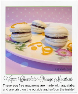 Made with aquafaba, these bite sized vegan macaroons are deliciously crisp on the outside and soft on the inside.  The rich, orange flavoured, vegan chocolate ganache counters beautifully against the sweet macaron making them a 'must try'.