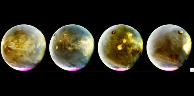 MAVEN's Imaging UltraViolet Spectrograph obtained these images of rapid cloud formation on Mars on July 9-10, 2016. The ultraviolet colors of the planet have been rendered in false color, to show what we would see with ultraviolet-sensitive eyes. The series interleaves MAVEN images to show about 7 hours of Mars rotation during this period, just over a quarter of Mars' day. The left part of the planet is in morning and the right side is in afternoon. Mars' prominent volcanoes, topped with white clouds, can be seen moving across the disk. Mars' tallest volcano, Olympus Mons, appears as a prominent dark region near the top of the images, with a small white cloud at the summit that grows during the day. Olympus Mons appears dark because the volcano rises up above much of the hazy atmosphere which makes the rest of the planet appear lighter. Three more volcanoes appear in a diagonal row, with their cloud cover merging to span up to a thousand miles by the end of the day. Credit: NASA/MAVEN/University of Colorado