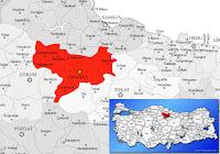 Amasya ili ve ilçeleriyle birlikte çevre il ve ilçeleri de gösteren harita