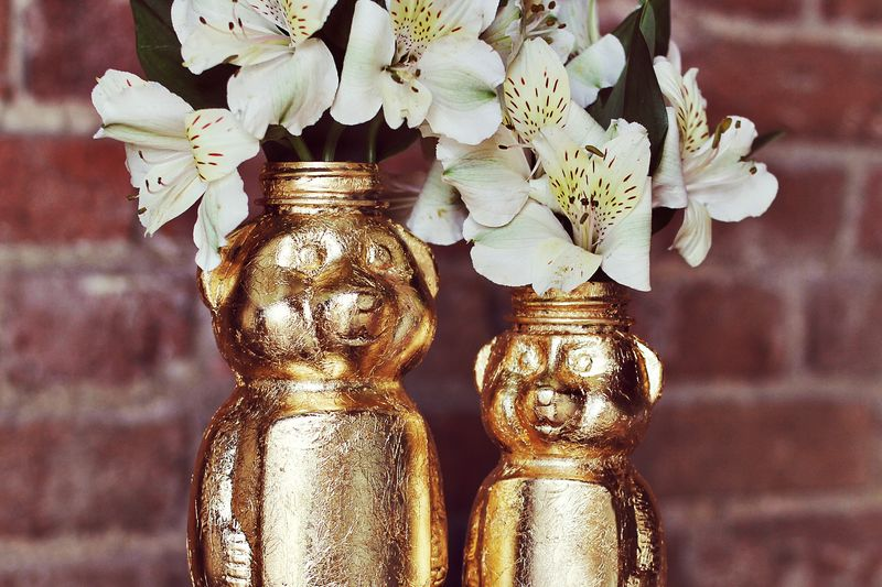 DIY Metallic Gold Honeybear Vases