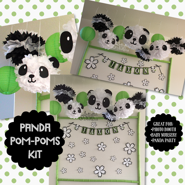 Panda Pom Poms Kit by ArtisticAnyaDesigns.Etsy.com