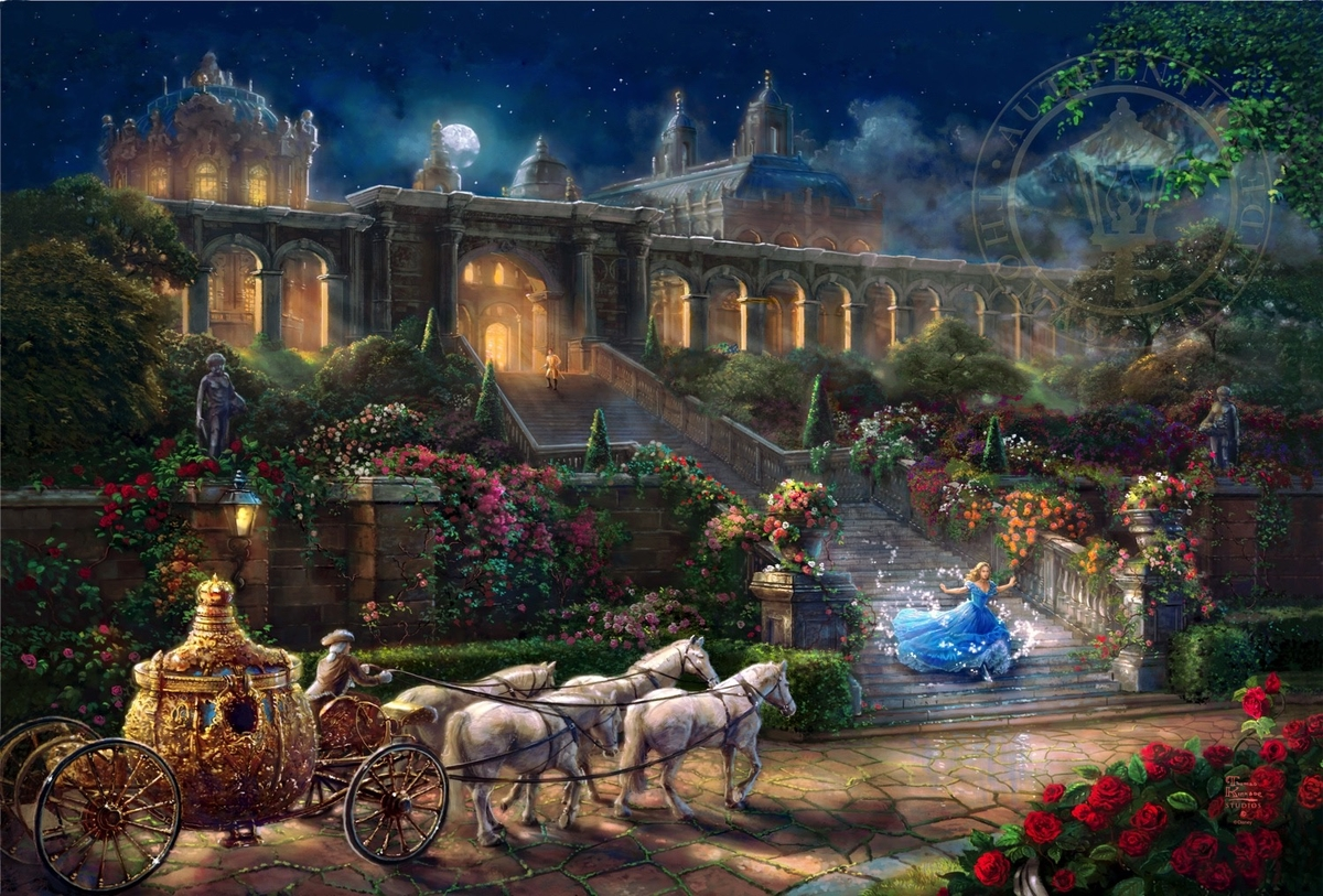 07-Cinderella - Clock Strikes Midnight-Thomas-Kinkade-Walt-Disney-Stories-Seen-Through-Paintings-www-designstack-co