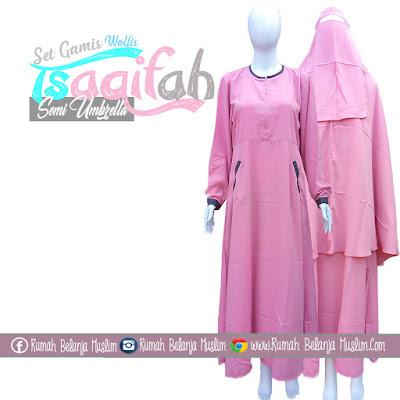 Set Gamis Syari Semi Umbrella Tsaqifah Pink Kalem