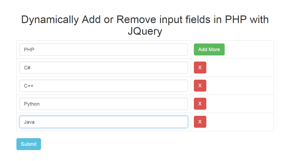 Dynamically add remove input fields in php with jquery - Jquery remove div ...