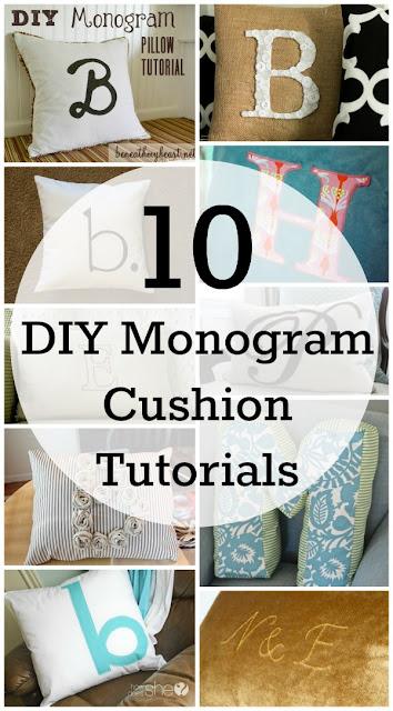 10 DIY monogramed cushion tutorials