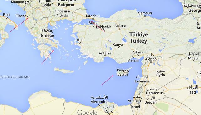 mappa mediterraneo