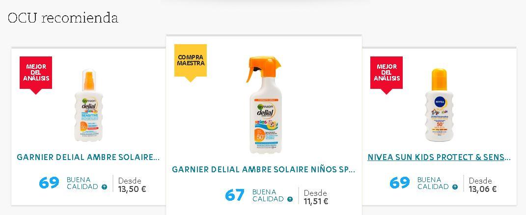 bb7d615ea54c ... Nivea Sun Kids Protect and Sensitive y Eucerin Kids Sun spray, todos  ellos sin perfume, son las que mejor protegen y obtienen una puntuación de  69.