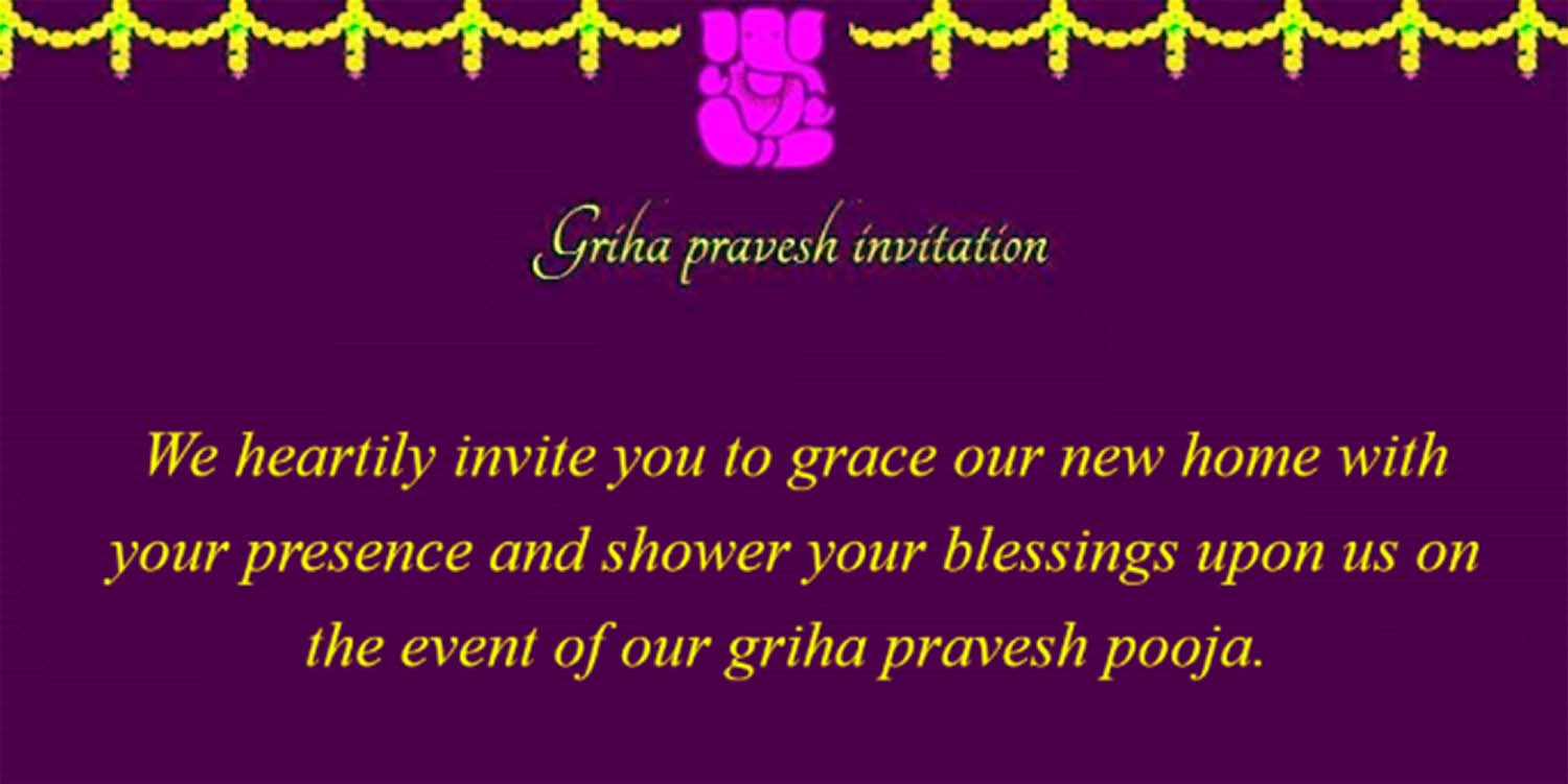 Griha Pravesh Invitation Indian House Warming Ceremony Cards And Ideas Badhaai Com