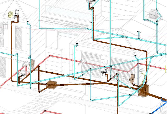 Modelado del saneamiento de un edificio, con tuberías de varios colores, arquetas e inodoros