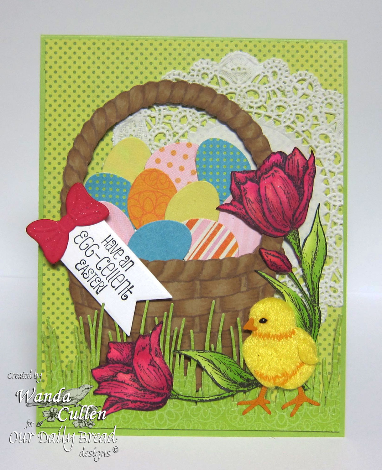 Stamps - Our Daily Bread Designs Basket of Blessings, Tulip Corner, ODBD Custom Peaceful Poinsettias Die, ODBD Custom Grass Border Die, ODBD Custom Eggs Dies, ODBD Custom Pennant Dies