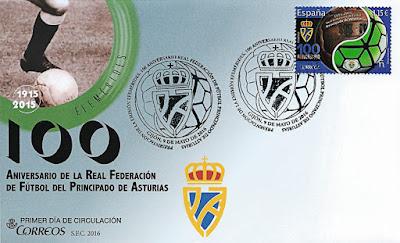 Sobre con matasellos de Presentación del sello del Centenario de la Real Federación de Fútbol de Asturias